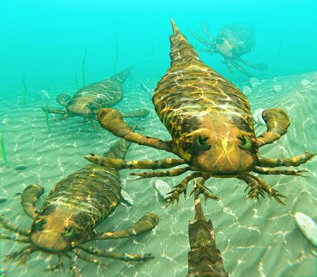Eurypterids とも呼ばれる海サソリ、獲物を求めて一緒に旅のイラスト。Eurypterids のクモに関連しては、今まで住んでいた最大の知られている節足動物