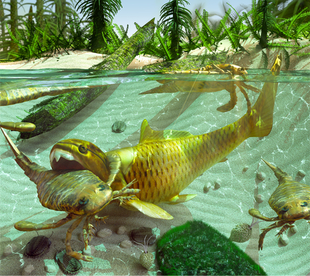 An illustration of a Devonian Period (419 to 358 million years ago) lake scene depicting a cycle of life. The Eurypterids (Sea Scorpions) feed on the smaller Trilobites dwelling on the lake bottom while the enormous placoderm fish Dunkleosteus, in turn, f