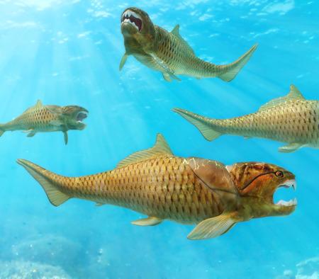 따뜻한 늦은 데본기 바다에서 먹이를 찾아 다니면서 돌고래 Dunkleosteus의 그룹을 보여줍니다. Dunkleosteus는 약 3 억 6 천만년 전인 거대한 선사 시대 물고 스톡 콘텐츠