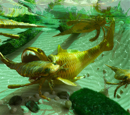 dwelling: An illustration of a Devonian Period (419 to 358 million years ago) lake scene depicting a cycle of life. The Eurypterids (Sea Scorpions) feed on the smaller Trilobites dwelling on the lake bottom while the enormous placoderm fish Dunkleosteus, in turn, f