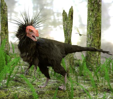 공룡 Ornitholestes이 늦은 쥬라기 장면에서 늪 숲이 우거진 지역을 이동하면서 잠자리를보고 일시 중지합니다. 예술적인 해석이지만,이 그림은 이제 실제