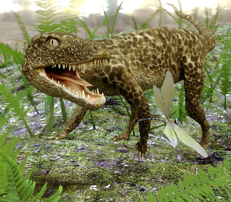 An illustration of Hesperosuchus (an extinct genus of crocodylomorph reptiles) playfully chasing a dragonfly in a growth of ferns. Remains of this sphenosuchian have been found in Late Triassic (Carnian) strata from Arizona and New Mexico.