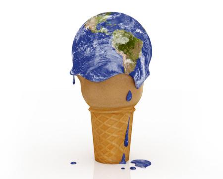 Changement climatique - Ice Cream Terre: Une illustration liés aux changements climatiques et les modèles de réchauffement climatique. Banque d'images