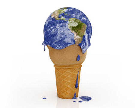 Climate Change - Ice Cream Earth: Een illustratie in verband met klimaatverandering en de opwarming van de aarde patronen. Stockfoto