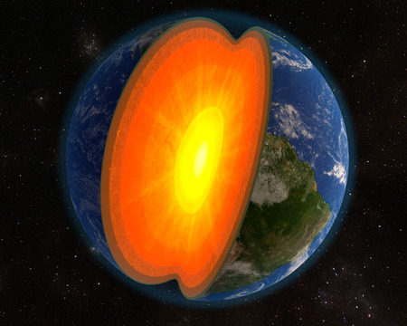 lithosphere: An illustration of the Earth with a section view depicting the interior core. Stock Photo
