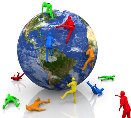 An illustration related to human conflict and struggle with a 3-D globe and people in primary colors scaling to the top.