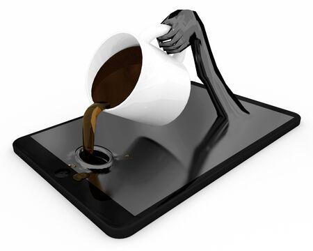Tablet PC-trinkender Kaffee: Laden Sie die Batterien. Ein 3-D-Darstellung konzentriert sich auf unseren Verbrauch basierte Geräte und Lebensstile. Standard-Bild - 43177749