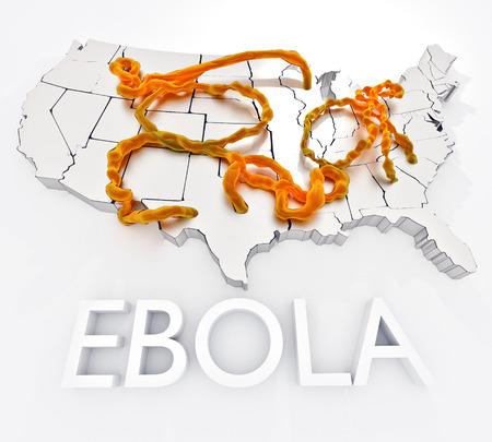 Ebola in den Vereinigten Staaten: Eine Abbildung mit dem Ebola-Virus und den Anfangs Infektionen in den Vereinigten Staaten zusammen. Standard-Bild - 43355057