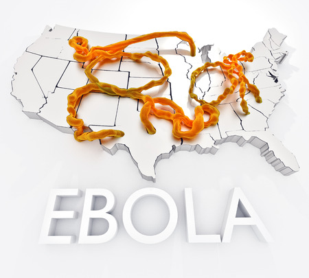 centers: Ebola In The United States: An illustration related to the ebola virus and the initial infections within the United States.