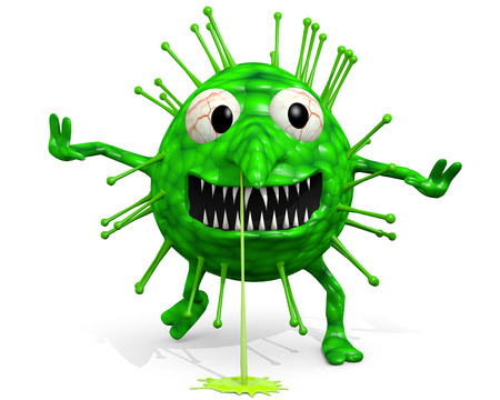 flu vaccination: Influenza - Is Coming For You! A cartoon illustration of the influenza virus.