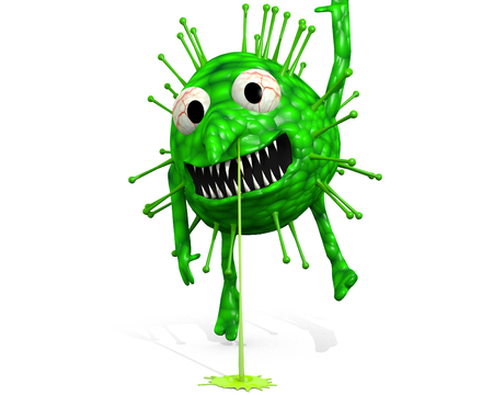 Influenza Virus - Still Hanging Around: A cartoon illustration of the influenza virus.