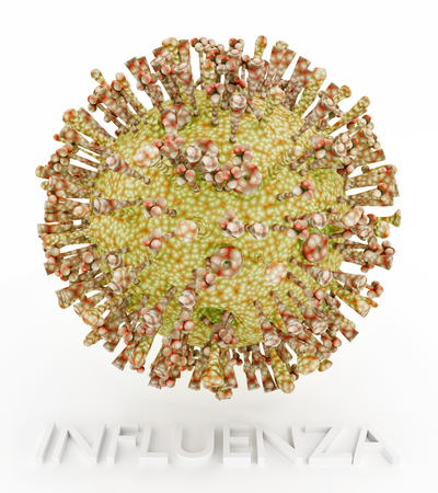 virus: Influenza Virus illustration with text name.The image depicts the icosahedral body of the virus and the ion channel, hemagglutinin and neuraminidase protrusions. Stock Photo