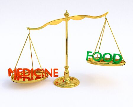 medicaid: Pensioner Choices - Food Vs. Medicine: An illustration focusing on the tough choices seniors living on fixed incomes face with day to day living.