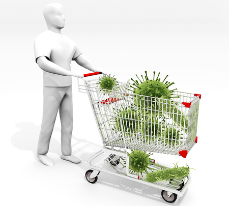 poisoning: Shopping Cart Full Of Germs: An illustration related to the objects we touch everyday in public spaces shopping carts etc. and the contamination associated with them.