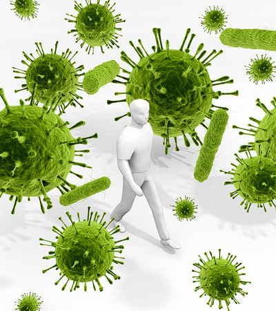 infectious: Surrounded By Germs Everywhere An illustration related to the infectious environment of viruses and bacteria that we are surrounded with everywhere and every day of our lives.