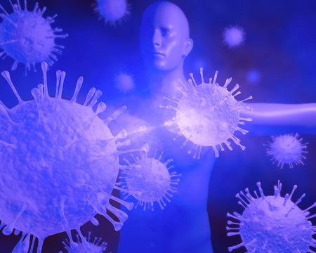Eine Darstellung, um Viren und Infektionen und deren Pathologie auf dem menschlichen Körper stehen. Standard-Bild - 43355665