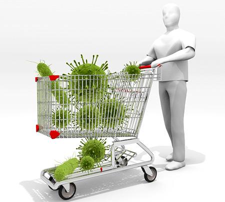 Einkaufswagen voll von Keimen: Eine Abbildung, auf die Objekte berühren wir jeden Tag im öffentlichen Raum Warenkörbe usw. und die Kontamination mit ihnen verbunden sind verwandt. Standard-Bild - 43355663