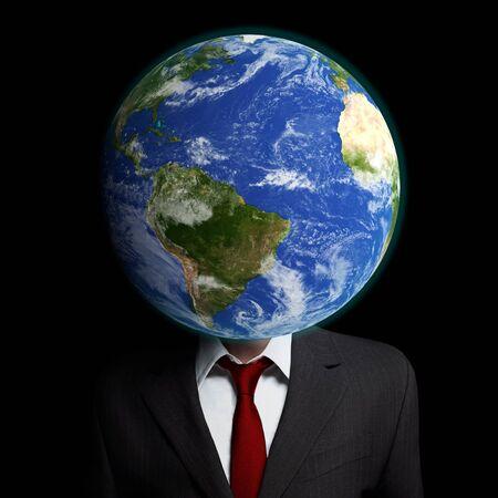 Eine Illustration zur Haltung im Zusammenhang mit auf globaler denken, anstatt regionaler Ebene. Standard-Bild - 43355669