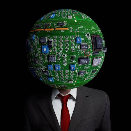 Eine Abbildung, die unsere moderne Abhängigkeit von digitalen Geräten und der Art, wie wir denken und kommunizieren im 21. Jahrhundert zusammen. Standard-Bild - 43355673
