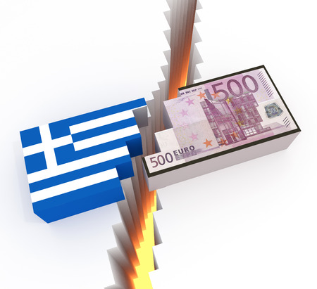 austerity: A cubic style illustration related to the ongoing financial crisis of greece and their default on debt and the subsequent referendum towards austerity measures.