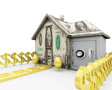 자산 - 주택 담보 주택 담보, 부동산 및 개인 금융에 관련된 그림.