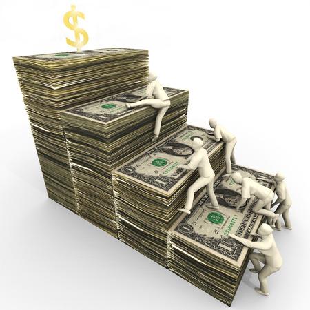 Eine Abbildung mit dem ewigen Kampf um Reichtum stehen. Cartoon kompetitiv stilisierten Menschen klettern einen Stapel von US-Dollar. Standard-Bild - 43355756