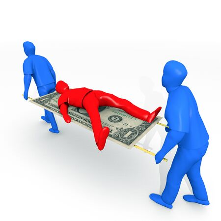 An illustration related to bankruptcy and debt settlements. Stock Photo