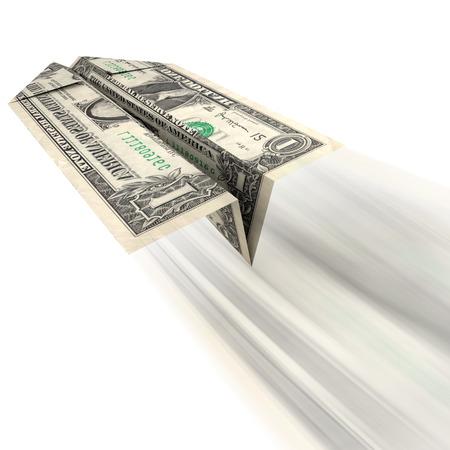 돈가는 길 : 종이 비행기에 접어 거의 또는 전혀 반환에 경솔 지출 또는 고가의 차입금으로 던져 미국 달러 지폐의 그림입니다. 스톡 콘텐츠