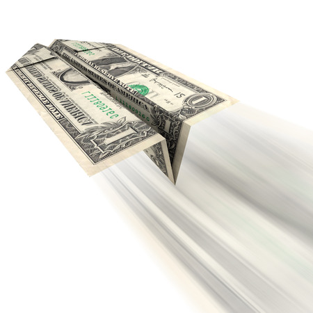 Money Getting Away: An illustration of a US dollar bill folded into a paper airplane and thrown as related to frivolous spending or expensive debt with little or no return. Stockfoto