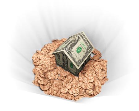 Eine Abbildung auf Kosten des Wohneigentums im Zusammenhang. Standard-Bild - 43355760