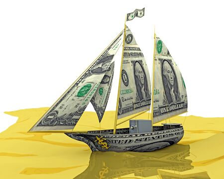 winning stock: Money Ship: Your money ship has arrived! An illustration related to new found wealth.