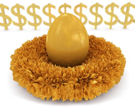 riches: Nest Egg: An illustration portraying the colloquial term Nest Egg for wealth saved away, to be accessed later in life. Stock Photo