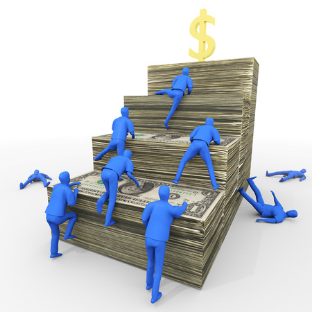 money and saving: An illustration related to the perpetual struggle for wealth. Stock Photo