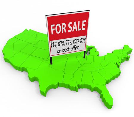 Vereinigte Staaten Zu verkaufen: Ein auf diesen Betrag an die Billionen in US-Staatsverschuldung und die Auslandskredite im Zusammenhang Illustration. Standard-Bild - 43355766