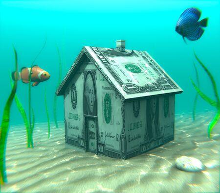 수중 모기지 (Underwater Mortgage) - 집 저당 현상이 주택 실제 가치보다 높게 나타나는 현상을 보여주는 삽화.