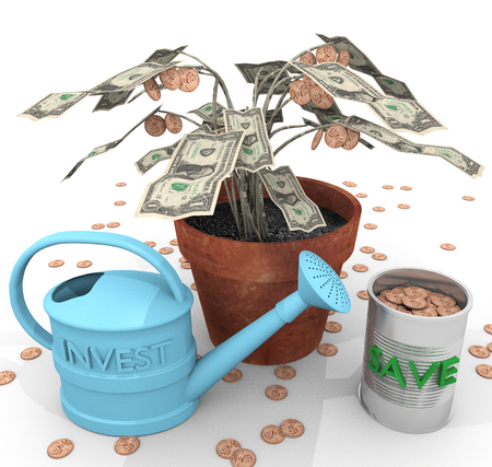 colloquial: How To Grow Wealth An illustration related to growing wealth with the depiction of a colloquial potted money tree and watering can investment along with the collected fruits of coins savings.
