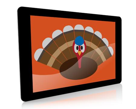 fiestas electronicas: Un ejemplo de la acci�n de gracias con temas de una tableta digital de mano con un pavo de dibujos animados en la pantalla. Foto de archivo