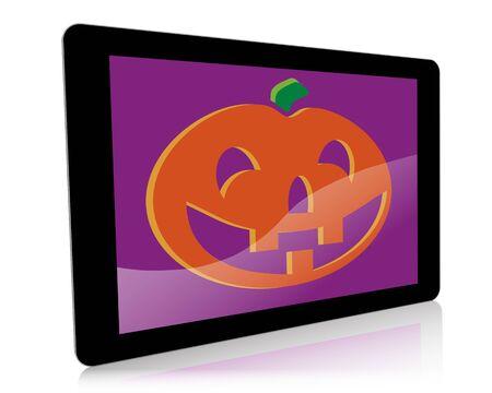 fiestas electronicas: Una ilustraci�n de Halloween con temas de una tableta digital de mano con un gr�fico de la calabaza en la pantalla. Foto de archivo