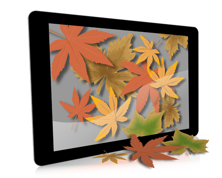 An illustration of a hand-held digital tablet with Fall (Autumn) leaves falling from the screen. Reklamní fotografie