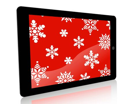 themed: A winter holiday themed illustration of a tablet computer with graphic snowflakes for a technology ad campaign or websiteblog.