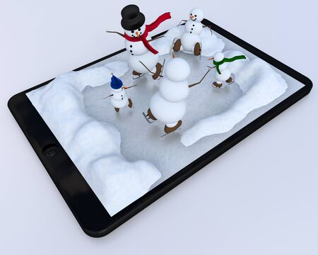A whimsical illustration of a digital tablet and snowmen frolicking through a winter wonderland.