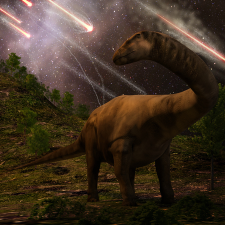 meteors: An apatosaurus looks upon meteors raining down that would precede the larger asteroid strike that would lead to the extinction of the dinosaurs 65 million years ago.