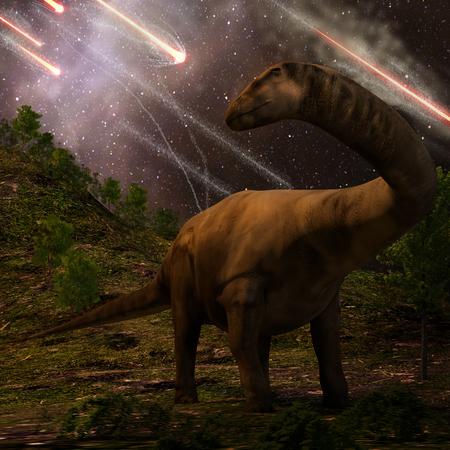 Un apatosaurus mira meteoros llueven que precederían la huelga asteroide más grande que llevaría a la extinción de los dinosaurios hace 65 millones de años.