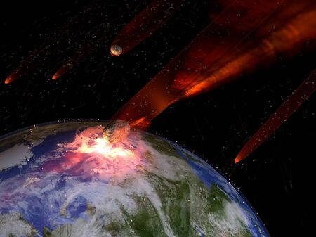 extinction: An illustration of a large asteroid strike on Earth. An impact this large would result in the extinction of most all life on Earth. Earth texture map courtesy of NASA - http:visibleearth.nasa.gov