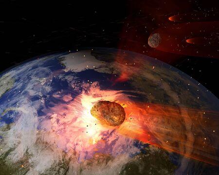 Eine Abbildung eines großen Asteroiden Auswirkungen auf der Erde. Eine Auswirkung dieses große in der Löschung der meisten alles Leben auf der Erde führen würde. Erde Textur Karten mit freundlicher Genehmigung von NASA - Quelle http: visibleearth.nasa.gov Standard-Bild - 51558934