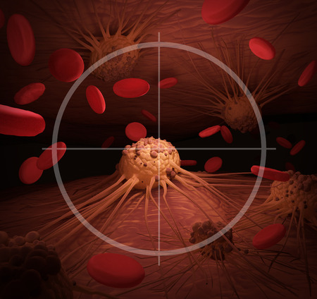 An illustration depicting Cancer Cells in the crosshairs, related to cancer treatment. Imagens
