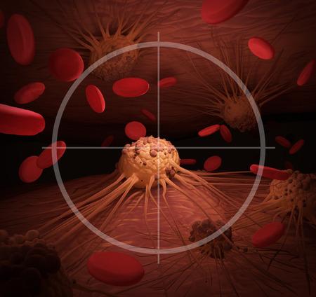 rak: Ilustracja przedstawiająca komórki nowotworowe na celowniku, związane z leczeniem nowotworu.