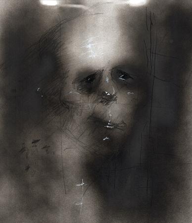 Eine abstrakte Sprühfarbe Illustration auf die Psychologie der klinischen Angst und Depression, welches die Bilder der Hoffnungslosigkeit und Verzweiflung durch dunkle Farbe und verzerrte Gesichter zusammen. Standard-Bild - 52888533