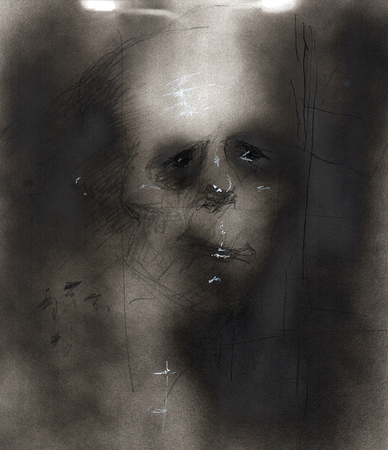 An abstract spray paint illustration related to the psychology of clinical Anxiety and Depression depicting the imagery of hopelessness and despair through dark color and distorted faces.