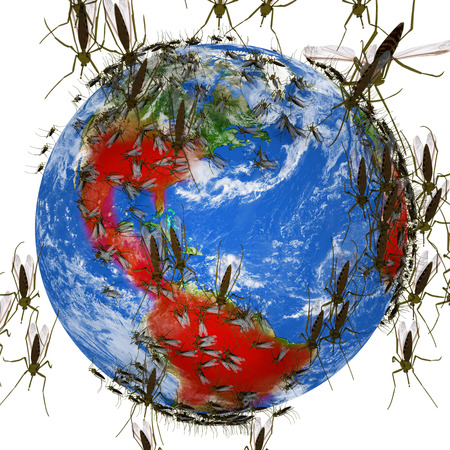 An illustration related to the global outbreak of the Zika Virus with mosquitos covering a globe highlighted with infected areas in red.  Symptoms of Zika Virus include mild headaches, maculopapular rash, fever, malaise, conjunctivitis, and arthralgia. Stock Photo